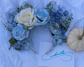 Cinderella Inspired Floral Wire Minnie Ears, Floral Mickey Ears, Flower Ears, Mouse Ears, Disney Ears, Princess Ears