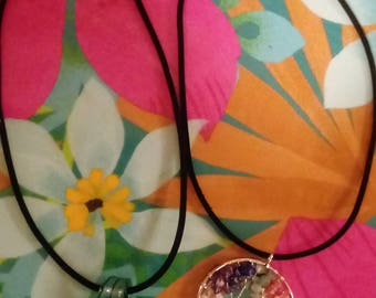 Rainbow Chakra Tree of Life Necklace and Murano Glass Grid Necklace