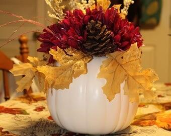 White Pumpkin Fall Floral Arrangement, fall decor