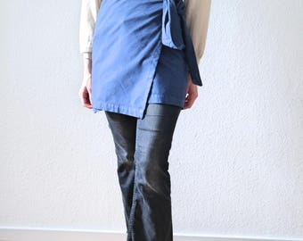 Blue Apron Dress- Linen Apron- Dress natural linen