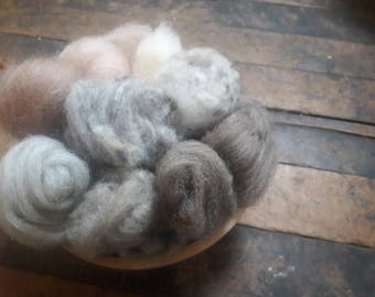 1 oz of wool batting and roving assortment, greys, tans, white neutrals for felting spinning weaving
