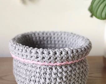 Fold Over Crochet Storage Basket - Medium