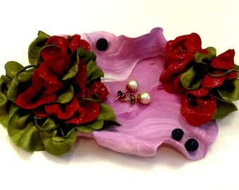 Jewelry Tray Blue Berry Floral Glitter