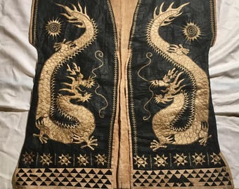 Antique Chinese or Vietnamese (?) Dragon Embroidery Vest