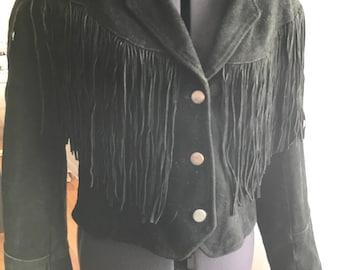 Vintage Women's Leather Biker Moto Jacket with Fringe Made in USA Size M