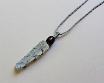 Hemp Wrapped Clear Quartz Crystal Necklace