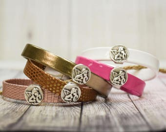 Leather Bracelet with Guardian Angel Charm