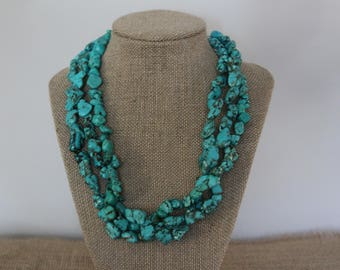 Turquoise necklace, Sterling Silver Leaf clasp, Layered Turquoise