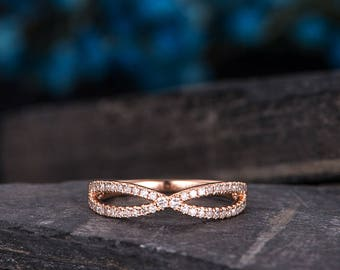 Wedding Band Women Rose Gold Infinity Eternity Diamond Band Stackable Promise Ring Delicate Anniversary Gift Matching Unique Dainty Bridal