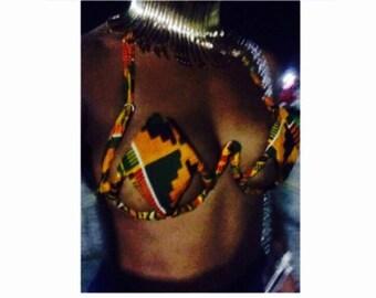 African Kente Print Carnival Wire Bra