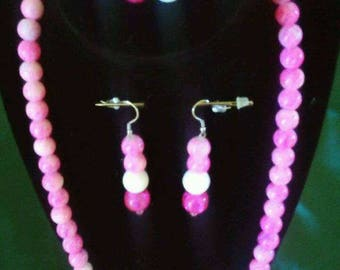 Pink and White beaded jewelry set