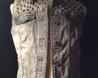 Studded Denim Horror Punk Vest
