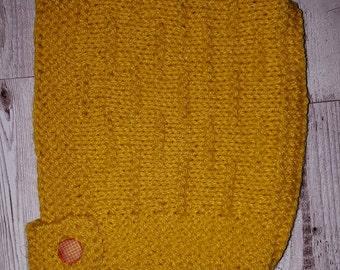 Cute Hand Knitted Pixie Bonnet 0-6 Mustard