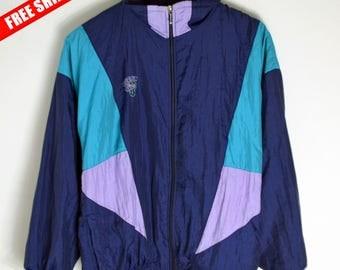 Windbreaker Boom Women S M 90s Windbreaker Retro jacket Vintage bomber Vintage Windbreaker 90s Jacket men Colorblock 80s windbreaker style