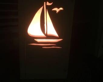 Sailboat, Luminary,  Sailboat lightbox, Sailboat light box, Wood, Home decor, Night light, Lamp, Gift, Bedroom, Bathroom,  Scroll saw used