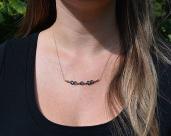 Swarovski Crystal // Simple // Classic // Dainty Necklace // Simple Layering Necklace // Beaded Gemstone Necklace // Charcoal Gray
