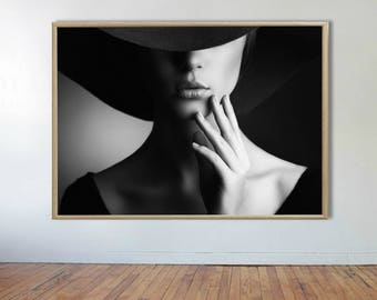 Fashion Model Print, Fashion Print, Woman Print, Black and White, Fashion Poster, Model Print, Beauty Print,Fashion Wall Art,Modern Wall Art