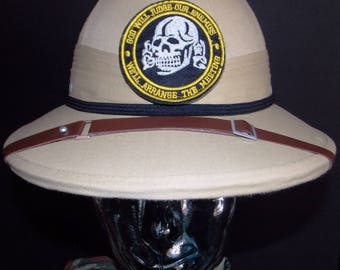 Skull Seal Team,khaki military pith helmet. covered in waterproof fabric,patch,hat band,leather liner-strap,size adjustable,one of a kind,