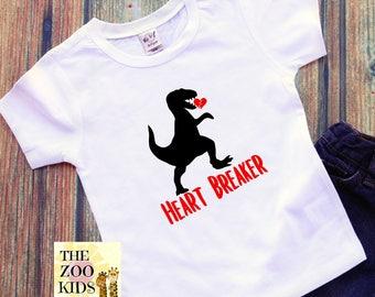 Boys Valentine Shirt Dinosaur Valentine Shirt. Heart Breaker Shirt
