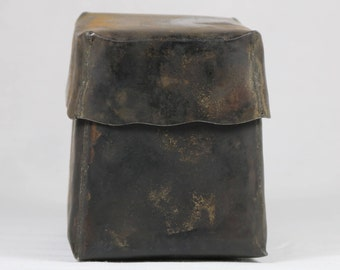 Burnished Rustic Metal Small Box with lid