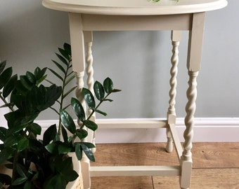 SOLD! Occasional hand painted barley twist hall table