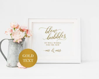Wedding Blow Bubbles Sign | Printable Wedding Bubbles Sign | Gold Blow Bubbles Sign | Rustic Blow us Bubbles | Calligraphy Blowing Bubbles