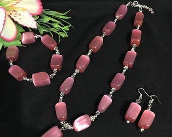 Chunky Pink Catseye Bead and Silver Bali Bead Necklace, Bracelet and Earrings Set, Beaded Necklace Set, Pink Necklace, Chunky Necklace,