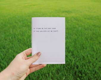 French Love Letter Quote//Handtyped Typewriter Greeting Card