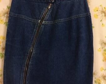Vintage Zip Front Denim Skirt