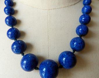 Vintage Deco Faux Lapis Blue Peking Glass Bead Necklace - 1930s