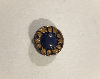 Vintage 6 x Bavarian blue and gold glass buttons