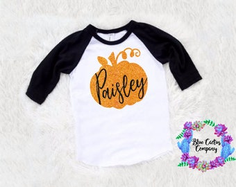 SALE Custom name glitter pumpkin shirt -halloween shirt- fall shirt - picture shirt -baby girl -toddler girl - fall gift shirt