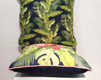 Square Palm Leaves Cushion With Envelope Opening, Bespoke Design