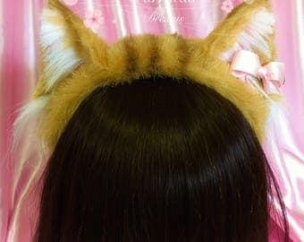 Orange tabby cat ears furry headband