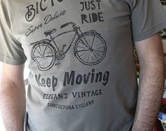 T-Shirt BICYCLING JUST RIDE/Zinc