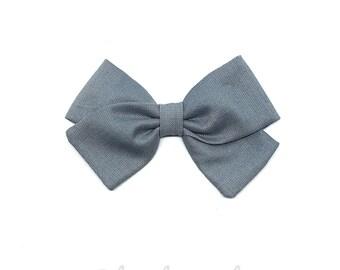 Barrette girl or baby blue grey bow headband