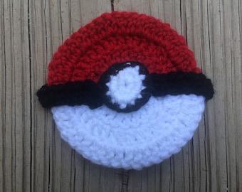 Crochet Pokeball Tawashi, Pokemon Scrubbie, Eco Friendly Washcloth, Reusable Scouring Pad