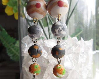 Jupiter and Moon Earrings, space earrings, astronomy earrings, solar system jewelry, polymer clay