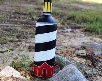 Lighthouse Hand Painted Wine Bottle Art