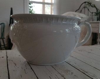 Vintage White Ironstone Chamber Pot