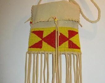 Beaded Native American deer skin pouch