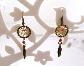 Earrings dream catcher or dream catcher silver and red beads