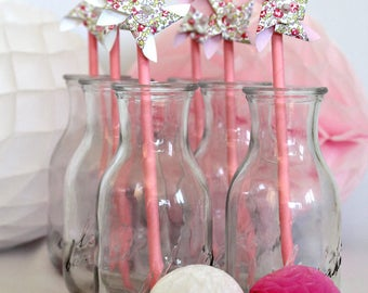 Light pink paper straws Pack: windmill spinning liberty Eloise pink