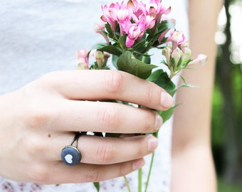 Grey ring with heart fabric