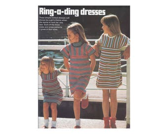 Girls Dresses - Knitting Pattern - Striped casual dresses with or without turtleneck