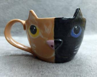 Two Tone Cat Mug