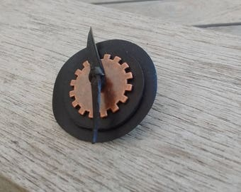 Ring steampunk in recycled chamber with copper color gearing - Round ring - Fantasy ring - Recycled tire ring - leather vegan