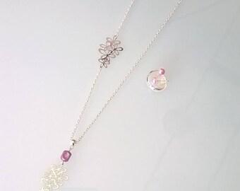 "Idea ""mothers"" necklace/bracelet/studs with purple flower print"