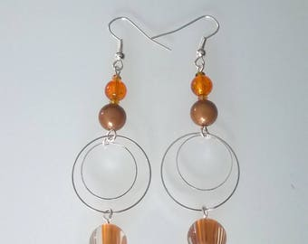 Brown/orange dangle earrings