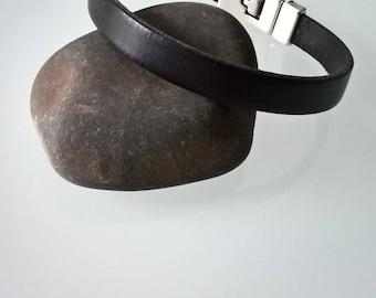 Black mens leather bracelet